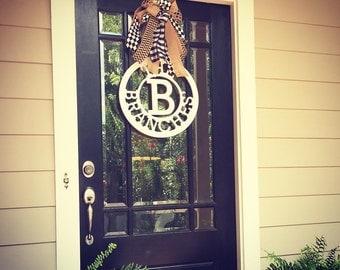 Front door wreath // 24 inch wooden circle monogram door hanger // Last name door hanger with large bow