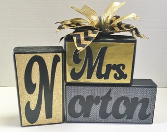 Teacher Name Blocks - Personalized - Name Blocks – Black and Gold