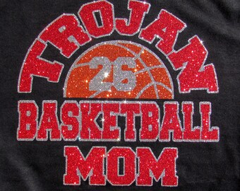 Your Team Basketball Mom Short or Long Sleeve T-Shirt with Your Team Name & Player # in High Sparkle Glitter, You Choose  Glitter Colors