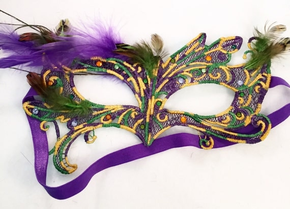 Mardi Gras elegant night! Lace feather crystal mask masquerade ball dance prom  holiday