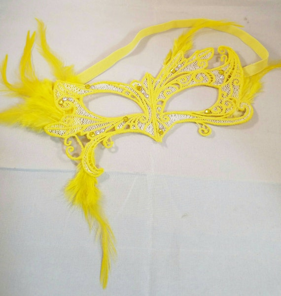 Buttered Popcorn mask! Embroidered lace feather crystal mask masquerade ball dance prom holiday