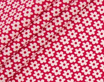 Cotton red and white flowers 12mm