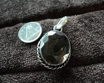 Braided Smoky Quartz Oval 7.2g Sterling Silver Pendant (1479)