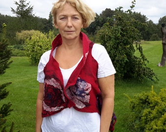 ON SALE.Felted women vest redvesr felted reversible vest summer vest merino wool clothes