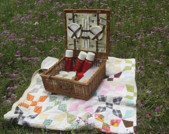 English picnic basket, picnic basket, basket, wicker picnic basket, lunch box,wicker basket, dinnerware, vintage picnic basket