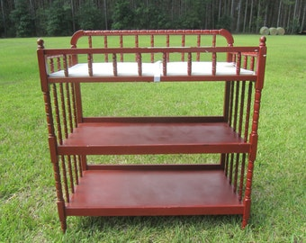 Captivating Jenny Iind Baby Changing Table, Jenny Lind Nursery, Photo Prop, Red Changing  Table