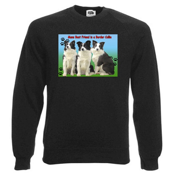 Border Collie Sweatshirt. Fleecy Lined Ribbed Cuffs and Neck, Choice of Sizes and colours