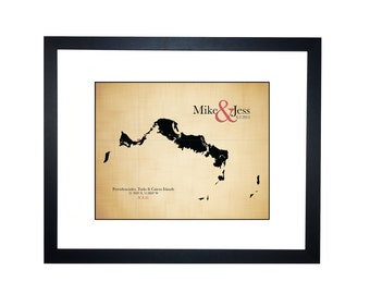 2nd anniversary gift for her, destination wedding map, wedding guest book map, beach wedding, bridal shower gift, Turks and Caicos map