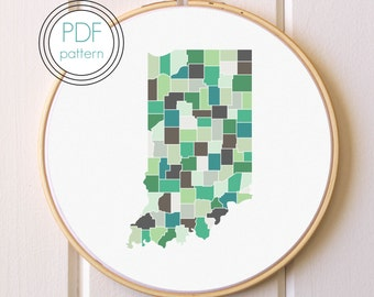 Indiana Embroidery Pattern PDF. Modern Hoop Art. Hand Embroidery Pattern.