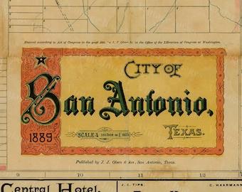 San Antonio map Texas Map vintage 1889 old map of San Antonio Antique Restoration Hardware Style San Antonio wall Map Perfect Gift idea
