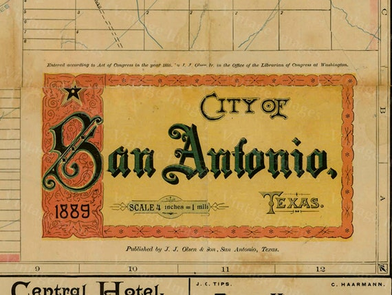 San Antonio map Texas Map vintage 1889 old map of San Antonio Antique Restoration Hardware Style San Antonio wall Map Perfect Gift idea