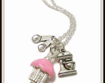 Pink Cupcake Charm Necklace, miniature,  Cupcake jewelry, Baker Gift