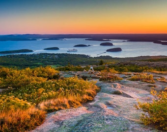 Sunrise view from Caddilac Mountain in Acadia National Park, Maine. | Photo Print, Stretched Canvas, or Metal Print.