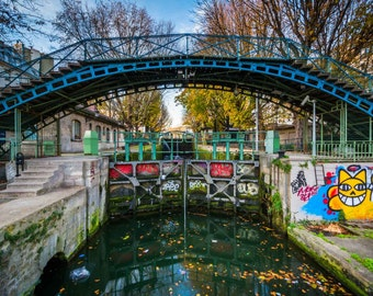 Bridge over Canal Saint-Martin in Paris, France. | Photo Print, Stretched Canvas, or Metal Print.