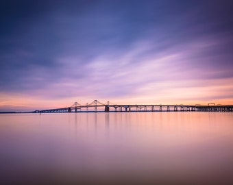 Long exposure of the Chesapeake Bay Bridge, from Sandy Point State Park, Maryland.   Photo Print, Stretched Canvas, or Metal Print.