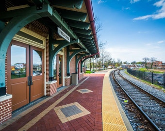 The train station in Frederick, Maryland.   Photo Print, Stretched Canvas, or Metal Print.