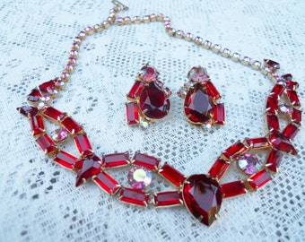 Choker Necklace with Earrings with Red Rhinestones and AB Rhinestones