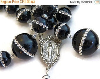 BLACK ONYX FUNERAL Rosary For the Deceased-Burial Gift-Woman's Swarovski  Rosary-Casket Rosary-Sterling Silver-Catholic Religious Gifts