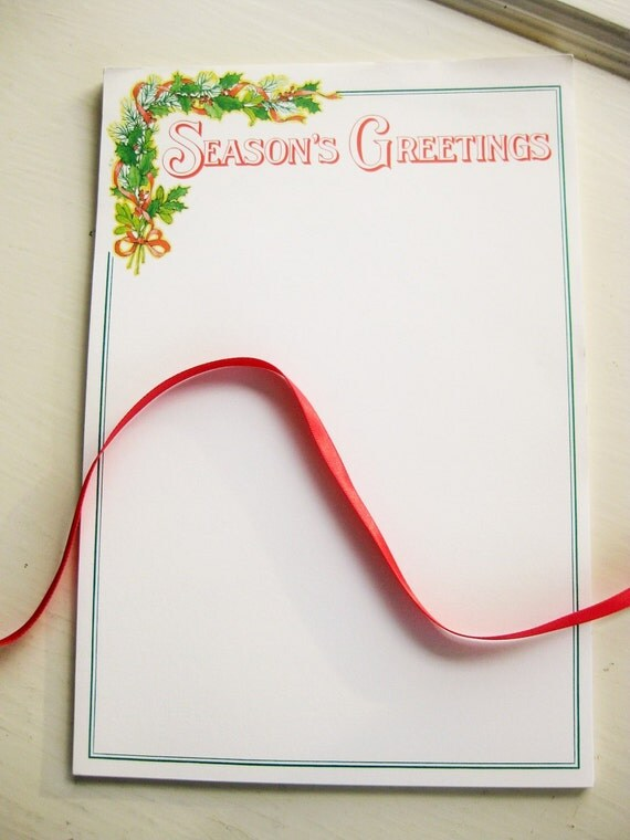 Season's Greetings Christmas holiday stationery. 1970s. 35 high quality sheets. Vintage stationery. No envelopes.