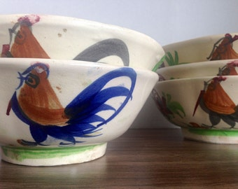 Vintage Asian Noodle Bowls Roosters Set of Five Hand Painted