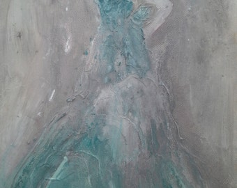 Original abstract painting romantic  lady in a dress shabby chic