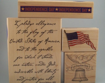 Independence Day, Patriotic, July 4 Stamp Collection - Pledge of Allegiance, American Flag, Liberty Bell, Independence Day Banner