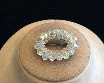 Vintage 3D Aurora Borialis & Clear Glass Beaded Pin