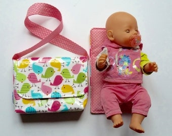 CHOOSE FABRICS Dolly Changing Bag // Mini changing bag set // mini diaper bag // dolls changing bag // big sister gift // new sibling gift