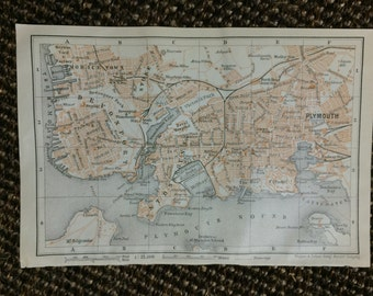 Plymouth, England 1910 Vintage Map [5.8 x 3.8 in.] Original, not a Reproduction