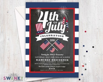 Fourth of July Invitations, 4th of July BBQ Invitation, Printable July 4th Invitation, Red White and Blue Party Invitation, Fireworks Invite