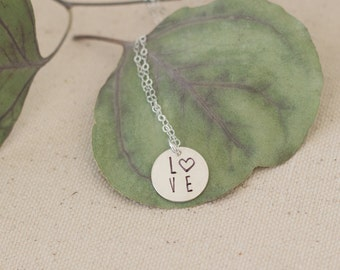 Silver Love Heart Necklace, Sterling Silver Love Pendant, Heart Love Pendant, Love Necklace, Gift for Her, Anniversary Gift