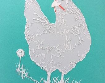Beautiful chicken, farm hen, giclee print of original animal papercut