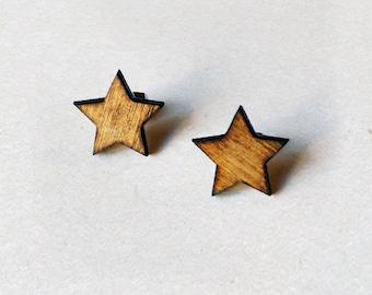 Star Earrings - Wooden Earrings, Laser Cut Jewelry, Light Weight Earrings, Wooden Star Stud Earrings, Minimal Earrings, Natural jewelry