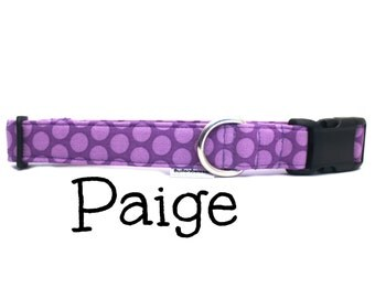 """Polka Dot Purple Girly Dog Collar Hypoallergenic, """"The Paige"""" by Bullenbeisser"""