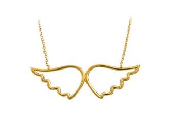 14K Solid Yellow Gold Angel Wings Evil Eye Necklace OG093