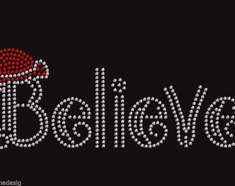 Christmas Believe Rhinestone Iron on Transfer 4HXY