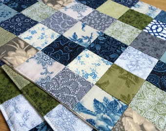 Set of 4 - Patchwork Placemats - Quilted Placemats - Blue, Green and Gray Placemats - Fall Placemat Set - Thanksgiving Placemats
