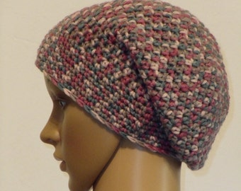 Crocheted hat with a colorful yarn