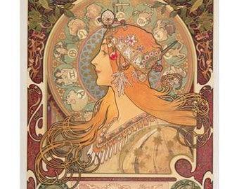 Alphonse Mucha Art Nouveau Giclee Print Zodiac, 1896