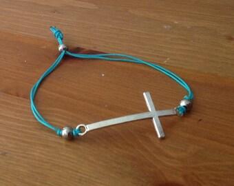 Teal Sideways Cross Bracelet- Adjustable Sliding Knot Bracelet-Awareness Ribbon-Silver Heart-Ovarian Cancerkidney disease-Ovarion Syndrome
