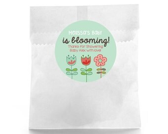 Baby is Blooming Stickers - Baby Shower Favor Labels - Baby Shower Favor Stickers - Custom Favor Sticker - Baby Shower Favor