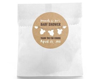 Rustic Baby Shower - Baby Shower Favor Labels - Baby Shower Favor Stickers - Custom Favor Sticker - Baby Shower Favor - Favor Box Label