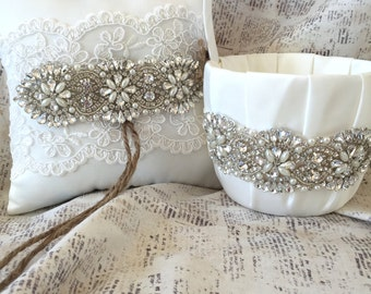 Flower girl basket rustic, Rhinestone flower girl basket, Rhinestone ring pillow, lace ring pillow, rustic ring pillow, ivory ring pillow