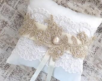 Ring Bearer Pillow, Ring Bearer Pillow Gold, Gold Ring Cushion, Gold Ring Pillow, Ring Bearer Pillow Rustic, Gold Flower Girl Basket