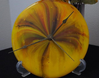 Fused Glass Clock Face of Fall colors