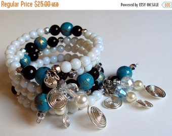 ON SALE 30% OFF Multi-strand memory wire bracelet - turquoise black and white gypsy wrap bracelet - silver plated coiled wire charmed bracel