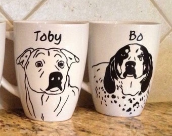 Custom Pet Portrait Set of 2 12oz. White Mugs