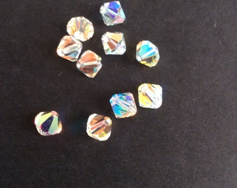 Supplies, Crystal Beads, Swarovski Crystal, Bicone Beads, Ab coated crystal, 8mm, Pack of 10