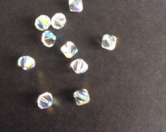 Supplies, Crystal beads,Swarovski Crystal beads, Bicone Crystals, Ab coated, 6mm , pack of 10
