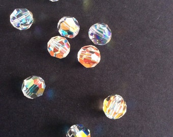 Supplies, Swarovski Faceted Round Crystal beads! Sparkling Ab, 8mm, pack of 10